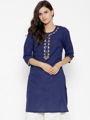 RANGMANCH BY PANTALOONS Women Blue Embroidered Straight Kurta