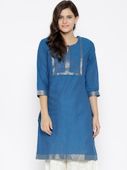 RANGMANCH BY PANTALOONS Women Blue Solid Straight Kurta