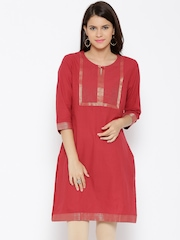 RANGMANCH BY PANTALOONS Women Red Solid Straight Kurta