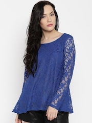 AND Women Blue Lace Top