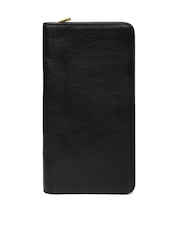 Fossil Men Black Genuine Leather Large Passport Holder