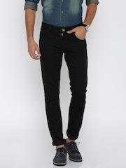 People Men Black Slim Fit Mid-Rise Jeans