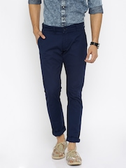 People Men Navy Solid Slim Fit Chino Trousers