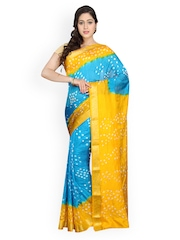 Pavechas Blue & Yellow Chiffon Bandhaini Print Saree