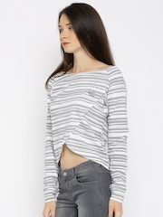 YWC Women White & Grey Striped Overlapping T-shirt