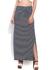 Trend Arrest Blue Striped Maxi Skirt