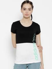 Adidas NEO Women Black & White W CE CB T Colourblocked Round Neck T-shirt