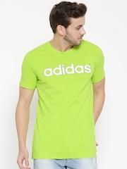 Adidas NEO Men Fluorescent Green CE Logo Print Round Neck T-shirt