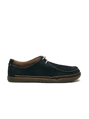 Clarks Men Navy Blue Textured Trapell Pace Leather Derbys