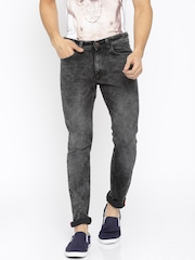 LOCOMOTIVE Men Charcoal Grey Super Slim Fit Acid Wash Clean Look Jeans