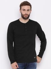 HIGHLANDER Men Black Solid Henley Neck T-shirt