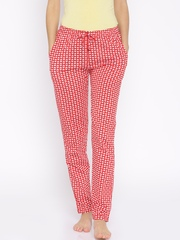 Red Rose Red Printed Lounge Pants T-026
