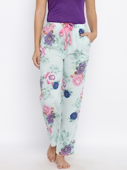 Red Rose Blue Printed Lounge Pants T-035
