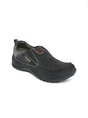 Woodland Men Black Leather Slip-On Sneakers
