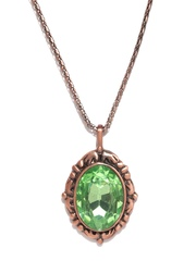 Estelle Green & Antique Rose Gold-Toned Stone-Studded Pendant with Chain