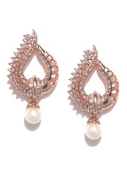 Estelle Rose Gold-Plated Stone-Studded Drop Earrings