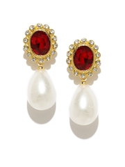 Estelle Gold-Toned & Red Stone-Studded Drop Earrings