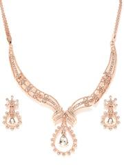 Estelle 24-Carat Rose Gold-Plated Stone-Studded Jewellery Set