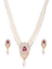 Estelle Gold-Plated Off-White & Pink Beaded & Stone-Studded Jewellery Set