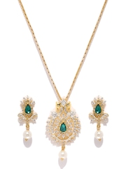 Estelle Gold-Plated Green & White Stone-Studded Jewellery Set