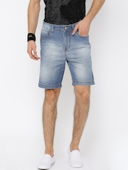 Roadster Men Blue Washed Regular Fit Denim Shorts
