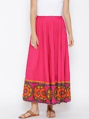 AKKRITI BY PANTALOONS Pink Printed Flared Maxi Skirt