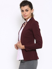 Anabelle by Pantaloons Wine-Coloured Single-Breasted Open Blazer