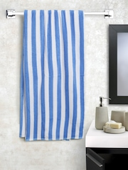 BOMBAY DYEING Blue Striped 360 GSM Cotton Beach Towel