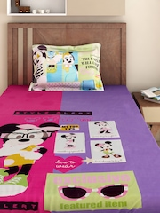 BOMBAY DYEING Girls Pink & Purple Cotton 220 TC Fine Single Bedsheet with 1 Pillow Cover