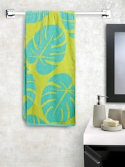 BOMBAY DYEING Yellow & Green Leaf Patterned Cotton 400 GSM Beach Towel