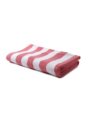 BOMBAY DYEING White & Pink Striped Cotton 470 GSM Beach Towel