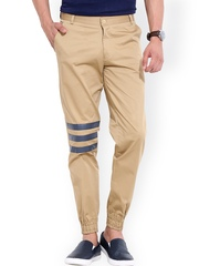 MR BUTTON Men Beige Solid Linen Slim Fit Cuffed Trousers
