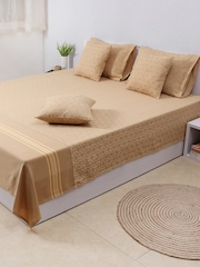 House This Beige 210 TC Fine Cotton Single Bedsheet with 1 Pillow Cover