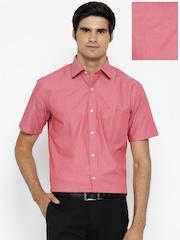 Arrow Men Coral Pink Solid Formal Shirt