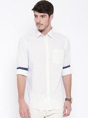 Arrow Men White Slim Printed Casual Shirt