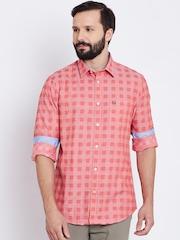 Arrow Sport Men Peach-Coloured Slim Fit Checked Casual Shirt