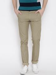 Arrow Sport Men Beige Printed Chrysler Fit Flat-Front Trousers