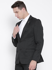 Arrow Charcoal Grey Single-Breasted Formal Blazer