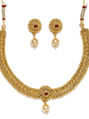 Zaveri Pearls Gold-Toned & Red Jewellery Set