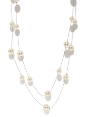 Zaveri Pearls Silver-Toned & White Layered Necklace