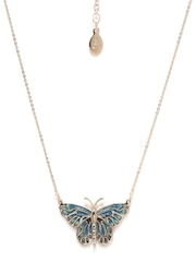 Accessorize Muted Gold-Toned & Blue Necklace