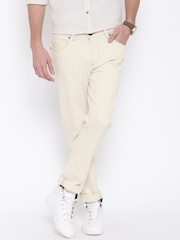 Arrow Sport Men Cream-Coloured Slim Mid-Rise Clean Look Jeans
