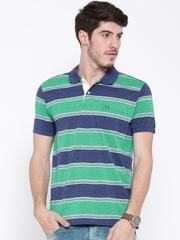 Arrow Sport Men Green Striped Polo Collar T-shirt