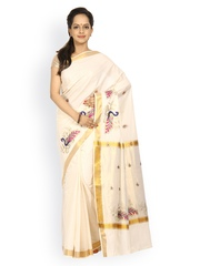 Platinum Off-White Kerala Cotton Traditional Saree