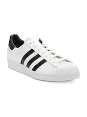 Adidas Originals Men White Textured Superstar 80s Leather Sneakers