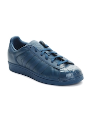 Adidas Originals Women Navy Superstar Glossy Toe Leather Sneakers
