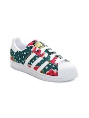 Adidas Originals Kids Teal Green & Pink Floral Print Superstar J Sneakers
