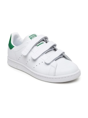 Adidas Originals Kids Unisex White Stan Smith CF J Leather Sneakers