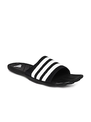 Adidas Men Black & White Adipure CF Striped Flip-Flops