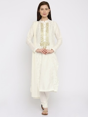 Anouk Off-White Embroidered Salwar Suit with Dupatta